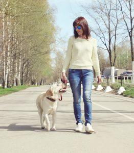 Frau mit Hund an Leine